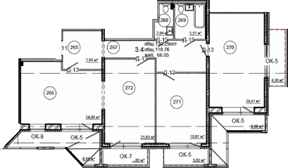 Планировка Трёхкомнатная квартира площадью 130.29 кв.м в ЖК «Серая Цапля»