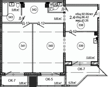 Планировка Двухкомнатная квартира площадью 92.06 кв.м в ЖК «Серая Цапля»