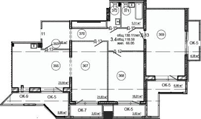 Планировка Трёхкомнатная квартира площадью 130.11 кв.м в ЖК «Серая Цапля»