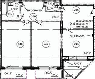 Планировка Двухкомнатная квартира площадью 92.35 кв.м в ЖК «Серая Цапля»