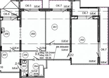 Планировка Трёхкомнатная квартира площадью 120.24 кв.м в ЖК «Серая Цапля»
