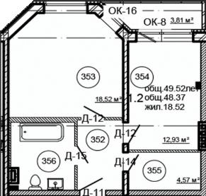 Планировка Однокомнатная квартира площадью 49.52 кв.м в ЖК «Серая Цапля»
